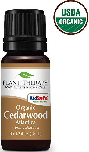 Organic Cedarwood Atlas Essential Oil. 10 ml (1/3 oz). 100% Pure, Undiluted, Therapeutic Grade.