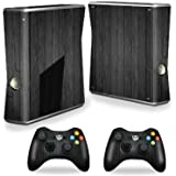 Protective Vinyl Skin Decal Cover for Microsoft Xbox 360 S Slim + 2 Controller Skins Sticker Skins Black Wood