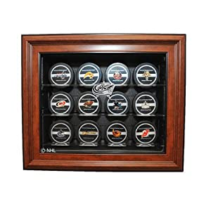NHL Twelve Puck Cabinet Style Display Case in Brown NHL Team: Columbus Blue Jackets,... by Caseworks