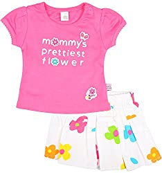 Toffy House Baby Girls' T-Shirt With Skirt Set (135_3-6 Months, Pink, 3-6 Months)
