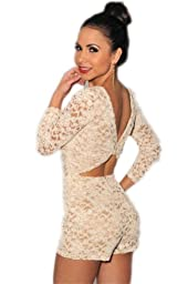 made2envy Lace Nude Illusion Knotted Key-Hole Back Romper (L, Cream) C6266Ca