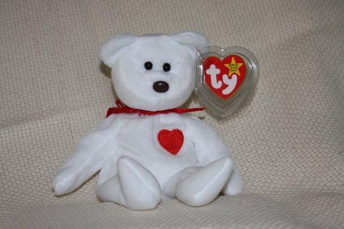 TY Beanie Baby - VALENTINO the White Bear - 1