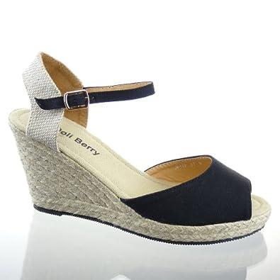 Kickly Chaussure Mode Sandale Espadrille Plateforme cheville femmes