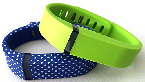 Small 1 Blue with White Dots Spots 1 Lime Green Band for Fitbit FLEX Only With Clasps Replacement /No tracker/