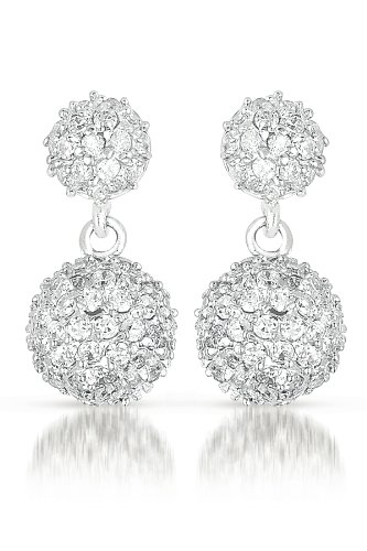 C.Z. (925) Sterling Silver Ball Drop Earring (Nice Holiday Gift, Special Black Firday Sale)
