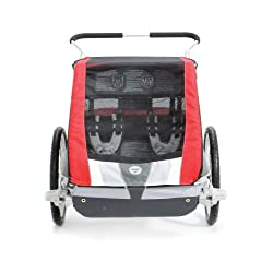 Chariot Cougar 2 Chassis Bundled with Strolling Kit Up To 2 Children - Red
