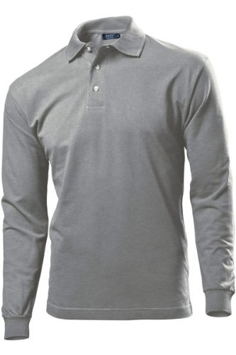 Hanes Mens Long Sleeve Top Pique Polo Shirt In 5 Colours S to XXL (Pack of 3) Grey Heather X-Large