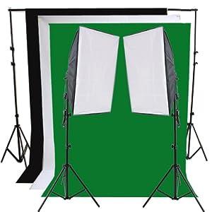 RPGT® Hintergrundsystem 2 x 2,8m mit Hintergrundstoff weiss weiß Grün Schwarz Screen 1,6 x 3 m Fotolampe Stativ Softbox Set