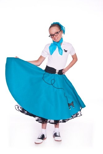 Hip Hop 50S Shop 4 Piece Child Poodle Skirt Outfit - Size Large Child Teal