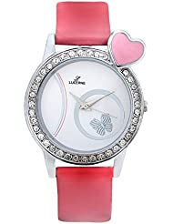 Lucerne White Dial Pink Leather Strap Analog Casual Watch For Girls