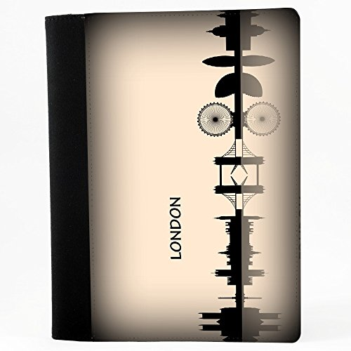 Voyage London, Nero Polyester Cartella Congressi block notes Taccuino con Fronte di Sublimazione e alta qualità Design Colorato.Dimensioni 230 x 180 mm.