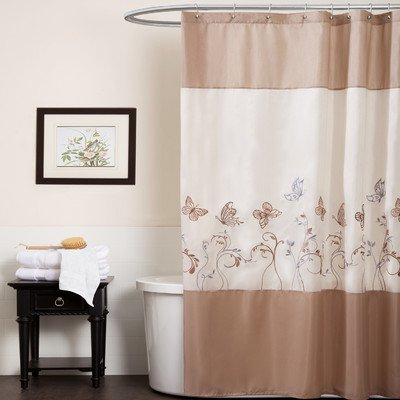 Triangle Home Fashions 19242 Lush Decor Butterfly Dreams Shower Curtain, Beige/Taupe