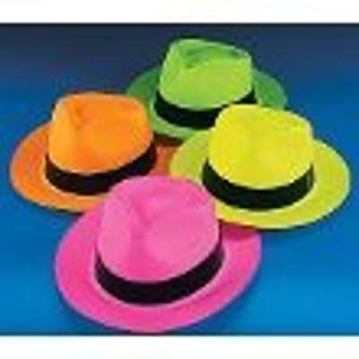 Fun Express Neon Color Plastic Gangster Hats - 12 Piece Pack from Fun Express