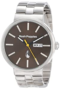 Hush Puppies Orbz Men's Automatic Watch with Brown Dial Analogue Display and Silver Stainless Steel Bracelet HP.3792M.1517