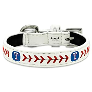 MLB Texas Rangers Classic Leather Baseball Dog Collar (Medium)