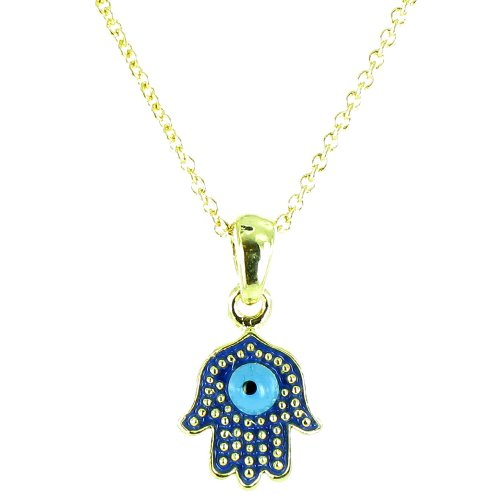 Blue On Gold Plated Small Hamsa Hand Necklace front-719719