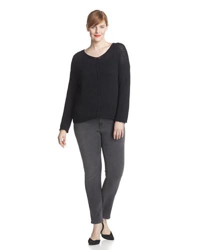 Acrobat Plus Women's V-Neck Crochet Knit Sweater