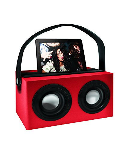 Polaroid Psk3002Rd 3.5Mm Rechargeable Portable Speaker Dock With Deep Bass, Red