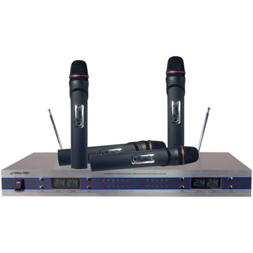 Brand New Pyle 4-Channel Vhf Wireless Microphone System - With Handheld Mics