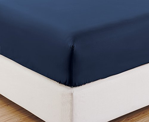 FULL size, NAVY BLUE Solid Fitted Bed Sheet - Super Silky Soft - SALE - High Thread Count Brushed Microfiber - 1500 Series-Wrinkle, Fade, Stain Resistant, Deep Pockets, 100% (Blue Bed Sheets Full compare prices)