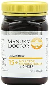 Manuka 马努卡新西兰蜂蜜15+生姜填料1.1磅Doctor 15 Plus Honey$26.72
