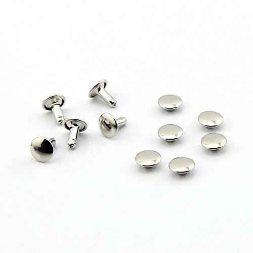 100, in acciaio nichel, in pelle, doppio, con rivetti piano per vestiti, scarpe borse, argento, 8 mm