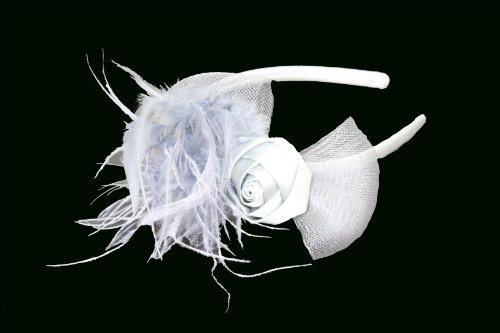 Womens Narrow Satin Alice band with Satin Rosebud and Net and Feather Detail in Grey