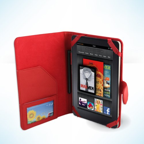 """Polaroid 7"""" Tablet Leather Case - Red SRX Style Case at Electronic-Readers.com"""