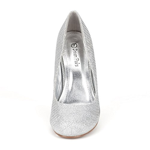 Dream Pairs Apparel Women's Formal Evening Dance Classic Low Heel Pumps Shoes New, Silver Glitter, 7 B(M) US