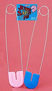 Jumbo Baby Diaper Safety Pin Blue or Pink Baby Shower Decoration Costume Prop from FORUM