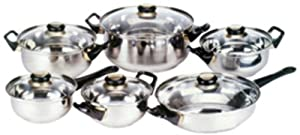 Home Basics 12-Piece Stainless Steel Cookware Set