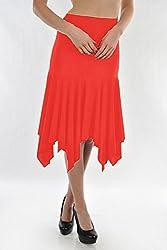 Danzon Women's Asymmetric Skirt (SLS90027_Red_Large)