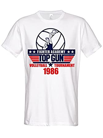 Top Gun Volleyball Tournament T Shirt white: Amazon.co.uk ... Top Gun Volleyball Shirt