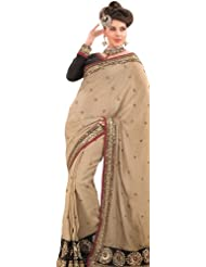Exotic India Beige Wedding Sari With All-Over Embroidered Flowers And Se - Beige