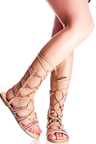 ABBA TIE UP FAUX LEATHER GLADIATOR SANDALS 9 nude