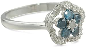 Sterling Silver Blue and White Diamond Flower Ring, (0.5 Cttw, G-H Color, I3 Clarity), Size 8