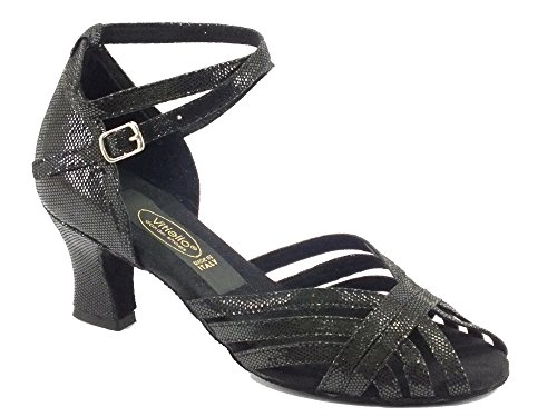 Scarpe da ballo latino americano per donna satinato nero tacco 50E (Taglia 37,5)