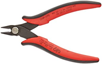 Hakko CHP-170 Micro Soft Wire Cutter, 1.5mm Stand-off, Flush Cut, 2.5mm Hardened Carbon Steel Construction, 21-Degree Angled Jaw, 8mm Jaw Length, 16 Gauge Maximum Cutting Capacity