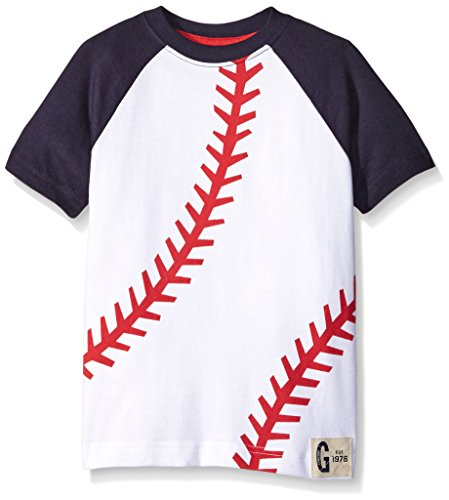 Gymboree Big Boys Tee with Baseball Detail, White, 7