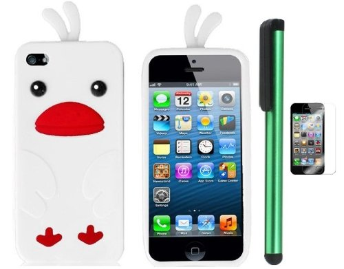 $$  White Funny Duck Silicone Skin Premium Design Protector Soft Cover Case Compatible for Apple Iphone 5 (AT&T, VERIZON, SPRINT) + Screen Protector Film + Combination 1 of New Metal Stylus Touch Screen Pen (4
