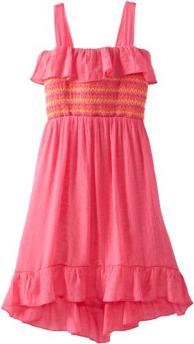 Amy Byer Girls 7-16 Ruffle Hi Low Dress, Pink, 8
