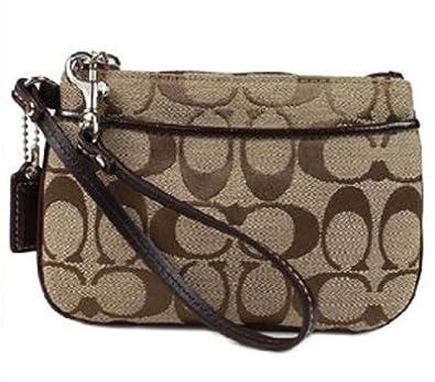 Coach Signature Small Wristlet Purse Bag 45659 Khaki Brown