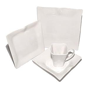 Francois et Mimi 16-Piece Classic White Wave Design Dinnerware Set, White