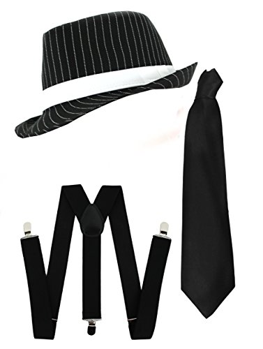 Ilovefancydress Men's Gangster Set Fancy Dress Accessory Costume Deluxe Kit Pinstripe Trilby Hat + Braces + Tie Mob Gangster Men Al Capone