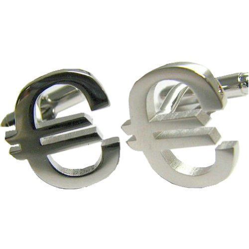 Worldfashion Unique Fortune Cufflinks of Metal Silver Euro Currency Symbols Come In a Nice Gift Box by WorldFashion