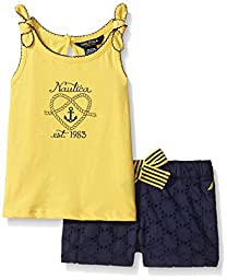 Nautica Girls\' Knit Top with Contrast Picot Eyelet Short Set, Lemon, 24 Months