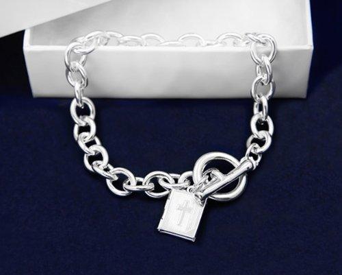 Religious Bracelet- Chunky Silver Bracelet w/ Bible Charm (18 Bracelets)