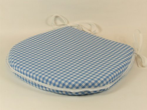 Light Blue Gingham Check Tie-On Chair Kitchen/Dining Room Seat Pad Cushions