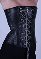 Hot Sale Gothic Black Leather Steel Boned Overbust Corset Front Chain Lace up Corset Waister Trainer, 40
