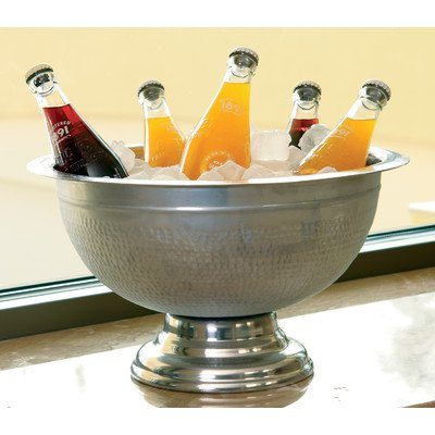 KINDWER Hammered Aluminum Pedestal Punch Bowl, 15-Inch, Silver (Huge Punch Bowl compare prices)